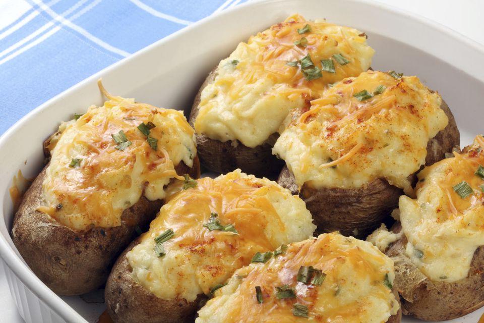 Pommes de terre farcies lardons et champignons